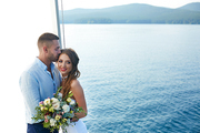 Married young couple having honeymoon voyage