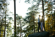 Amorous couple standing on big stone by pinetree with sunshine flare between them