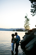 Passionate couple sharing kiss in water