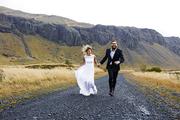 Running couple enjoying honeymoon adventure