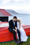 Serene married couple having rest in Iceland