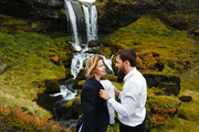 Young married couple spending honeymoon in picturesque environment