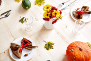 Festive variety of treaditional Thanksgiving table served for guests