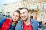Young travelers enjoying their street adventure