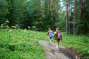 Young travelers walking deep in the forest