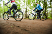 Young active couple riding their bicycles along road surrounded by group of blurry green trees