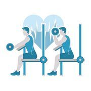 man doing arm exercises on dumbbell bench chair