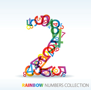 Number two made from colorful numbers -  check my portfolio for other numbers