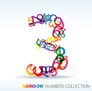 Number three made from colorful numbers -  check my portfolio for other numbers