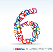 Number six made from colorful numbers -  check my portfolio for other numbers