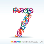 Number seven made from colorful numbers -  check my portfolio for other numbers