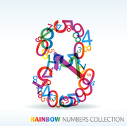 Number eight made from colorful numbers -  check my portfolio for other numbers