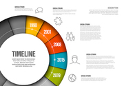 Vector Infographic timeline template made from colorful wheel