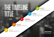 Vector Infographic timeline report template with big photo placeholder, icons, years and color buttons on white diagonal stripe. Business company overview profile.