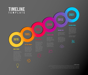 Vector diagonal Infographic Company Milestones Timeline Template with circles, text placeholders and icons - dark rainbow version