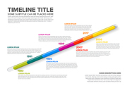 Vector glassy diagonal infographic Company Milestones Timeline Template with dates and other information
