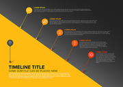 Vector infographic diagonal timeline report template with bubbles - dark yellow version