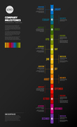 Full year timeline template with all months on a vertical time line - dark background version