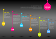 Colorful  Vector Infographic timeline report template with colorful drops on a line - dark version