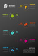Vector  Infographic Company Milestones Timeline Template with circle icon pointers on a straight vertical  time line - dark background version