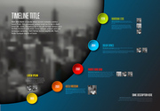 Vector Infographic timeline report template with big photo placeholder, icons, photos, years and color buttons. Business company overview profile - dark version