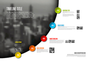 Vector Infographic timeline report template with big photo placeholder, icons, photos, years and color buttons. Business company overview profile - light version