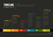 Vector Infographic Company Milestones Colorful Timeline Template - dark version