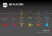 Vector Infographic Company Milestones Timeline Template with pointers on a straight horizontal time line - dark version