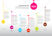 Colorful  Vector Infographic timeline report template with colorful drops on a line