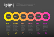Vector Infographic Company Milestones Timeline Template with circles, text placeholders and icons - dark red version