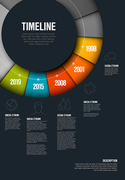 Vector Infographic timeline template made from colorful wheel - dark version