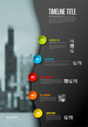 Vector Infographic timeline report template with big photo placeholder, icons, photos, years and color buttons. Business company overview profile. Dark version