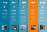 Vector Infographic Company Milestones Timeline Template with photo placeholders on blue nad orange stripes