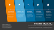 Vector Infographic Company Milestones Timeline Template with blue nad orange diagonal stripes