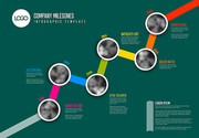 Vector Infographic Company Milestones Timeline Template with circle photo placeholders on colorful diagonal line - dark green version