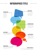 Vector vertical abstract Communication infographic template with idea bubbles - light version