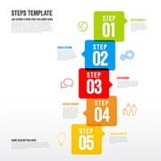 Vector five steps progress infographic vertical template made from arrow bubbles and icons