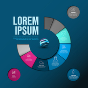 Vector Infographic timeline template made from colorful wheel - dark blue and pink version
