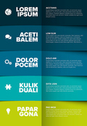 Vector multipurpose Infographic template made from five blue green color content blocks