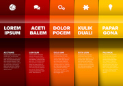 Vector multipurpose Infographic template made from five red and yellow color content blocks