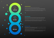 Vector multipurpose Infographic template with three elements options and modern colors on a dark background