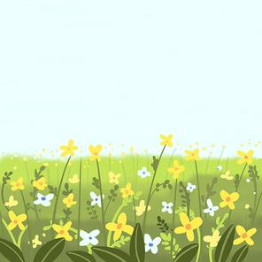 개나리,들꽃 언덕 배경입니다.- 광고, 포스터, 청첩장, 배너