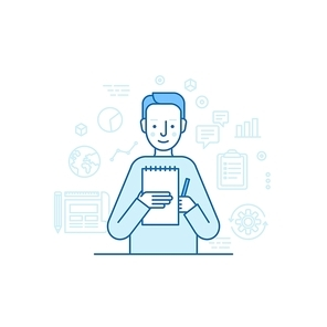 Vector illustration in trendy flat linear style - male character holding business report and pen - finance consultant and copywriter concept for banner or landing page