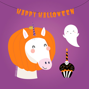 Hand drawn vector illustration of a funny pumpkin candy bag, cupcake, balloon, with text Happy Halloween. Isolated objects. Scandinavian style flat design. Concept for children print, party invitation