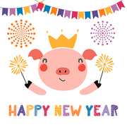 Hand drawn vector illustration of a cute funny pig in a crown, with sparklers, text Happy new year. Isolated objects on white background. Scandinavian style flat design. Concept for card, invite.