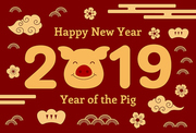 2019 Chinese New Year greeting card with cute pig, clouds, flowers, numbers, text, gold on red. Vector illustration. Isolated objects. Flat style design. Concept for holiday banner, decorative element