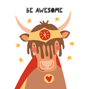 Hand drawn vector illustration of a cute yak superhero, with lettering quote Be awesome. Isolated objects on white background. Scandinavian style flat design. Concept for children print.