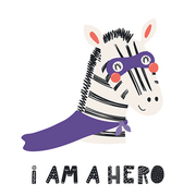 Hand drawn vector illustration of a cute zebra superhero, with lettering quote I am a hero. Isolated objects on white background. Scandinavian style flat design. Concept for children print.