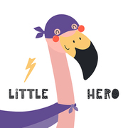 Hand drawn vector illustration of a cute flamingo superhero, with lettering quote Little hero. Isolated objects on white background. Scandinavian style flat design. Concept for children print.