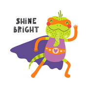 Hand drawn vector illustration of a cute iguana superhero, with lettering quote Shine bright. Isolated objects on white background. Scandinavian style flat design. Concept for children print.